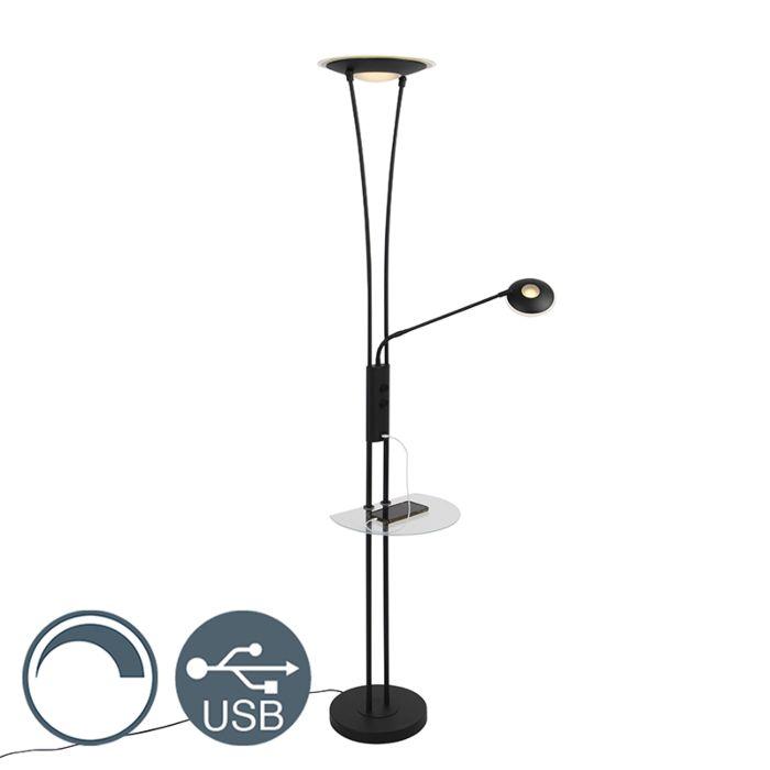Vloerlamp-zwart-met-leesarm-incl.-LED-en-USB-poort---Sevilla