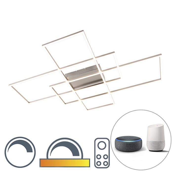 Moderne-plafonnière-staal-dimbaar-incl.-LED---Plazas-3