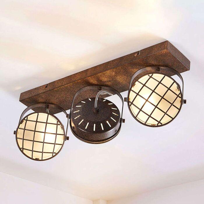 Industriële-plafondlamp-roestbruin-3-lichts-incl.-vervangbare-LED-dimbaar---Tamin
