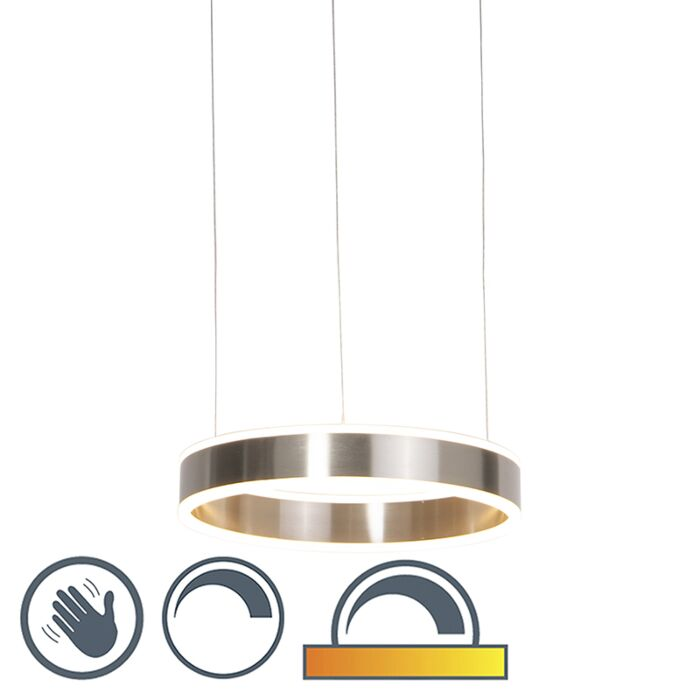 Moderne-hanglamp-staal-incl.-LED-40-cm-dim-to-warm---Ollie
