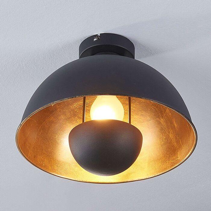 Industriële-plafondlamp-zwart-met-goud---Magna-Eglip