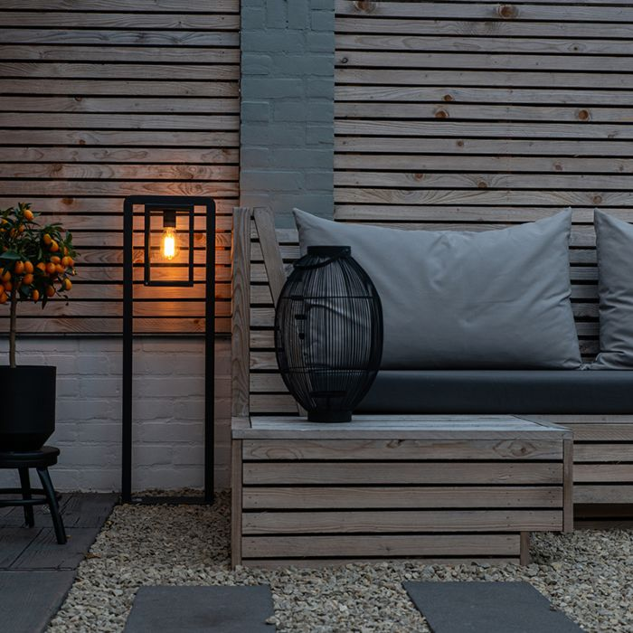 Moderne-staande-buitenlamp-zwart---Rotterdam-Balanco