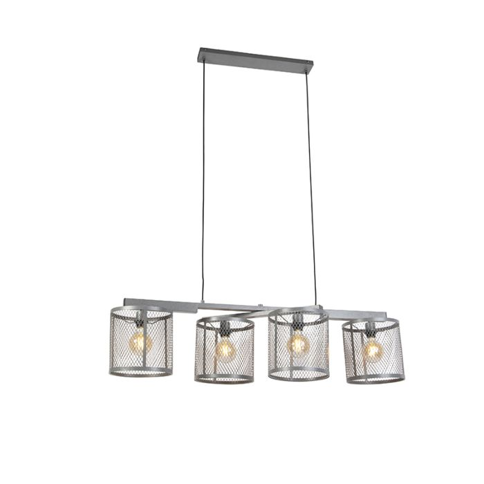 Industriële-hanglamp-antiek-zilver-4-lichts---Cage-Robusto