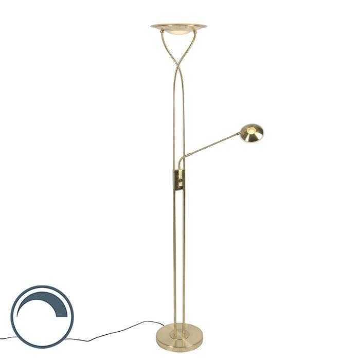 Moderne-vloerlamp-goud-incl.-LED-met-leesarm---Mallorca