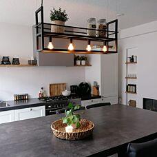 -Industriële hanglamp zwart met rek 4-lichts - Cage Rack-aanbieding