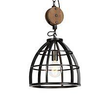 -Industriële ronde hanglamp zwart staal 34.5 cm - Arthur-aanbieding
