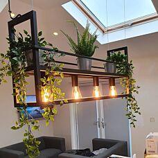 Industriële-hanglamp-zwart-met-rek-4-lichts---Cage-Rack