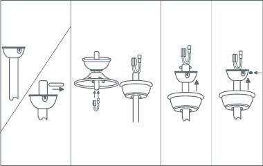 plafondventilator ophangen ventilatorkap vastmaken
